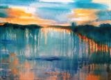 Dusk on Moody Lake by Wilma, Painting, Acrylic on canvas