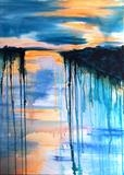 Evening on Moody Lake by Wilma, Painting, Acrylic on canvas