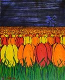 Flower Field by Wilma, Painting, Acrylic and charcoal on canvas