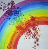 Rainbow Flower Series 1 by Wilma, Painting, Acrylic on canvas