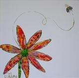 Bee and Daisy by Wilma Seston, Painting, Mixed Media on Canvas
