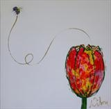 Bee and Tulip by Wilma Seston, Painting, Mixed Media on Canvas