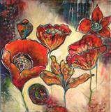 Garden in Bloom by Wilma Seston, Painting, Acrylic on canvas
