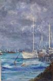 Tollesbury Moody Moorings by Wilma Seston, Painting, Acrylic and charcoal on canvas