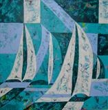 Stylized Boats by Wilma, Painting, Acrylic on canvas