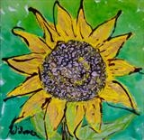 Wild Sun Flower 1 by Wilma, Painting, Mixed Media on Canvas